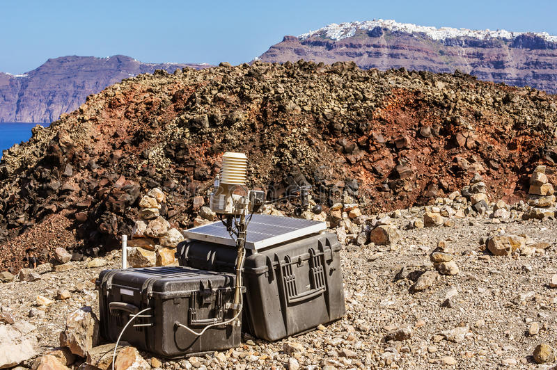 Σεισμικός έλεγχος του ηφαιστείου Santorini στοκ φωτογραφία