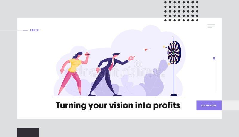 Σελίδα έναρξης στόχων στρατηγικής επιχειρηματικής λύσης Επιτεύγματα της αποστολής και εταιρικός ανταγωνισμός διανυσματική απεικόνιση