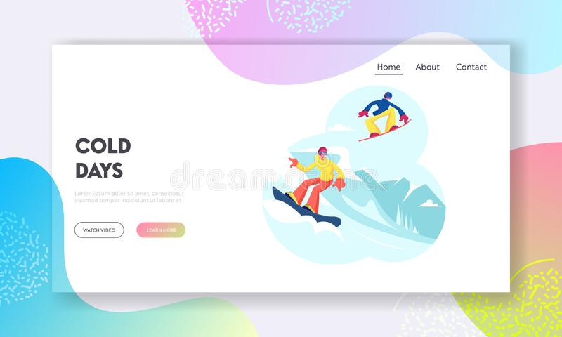 Σελίδα έναρξης της ιστοσελίδας People Snoboard Αθλητές των χιονοδρόμων απεικόνιση αποθεμάτων