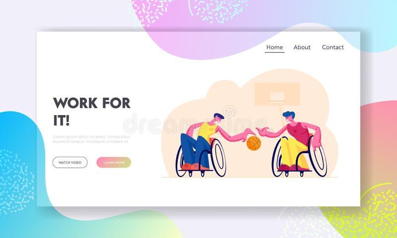 Σελίδα έναρξης της παραολυμπιακής εκπαίδευσης αθλητών Ανάπηροι παράλυτοι άνδρες που παίζουν μπάσκετ και κάθονται σε αναπηρικές κα απεικόνιση αποθεμάτων