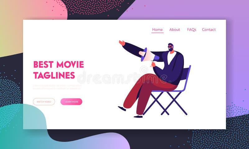 Σελίδα έναρξης της τοποθεσίας Web δημιουργίας ταινιών Σκηνοθεσία Studio με μεγάφωνο σε καρέκλα, ψυχαγωγία απεικόνιση αποθεμάτων