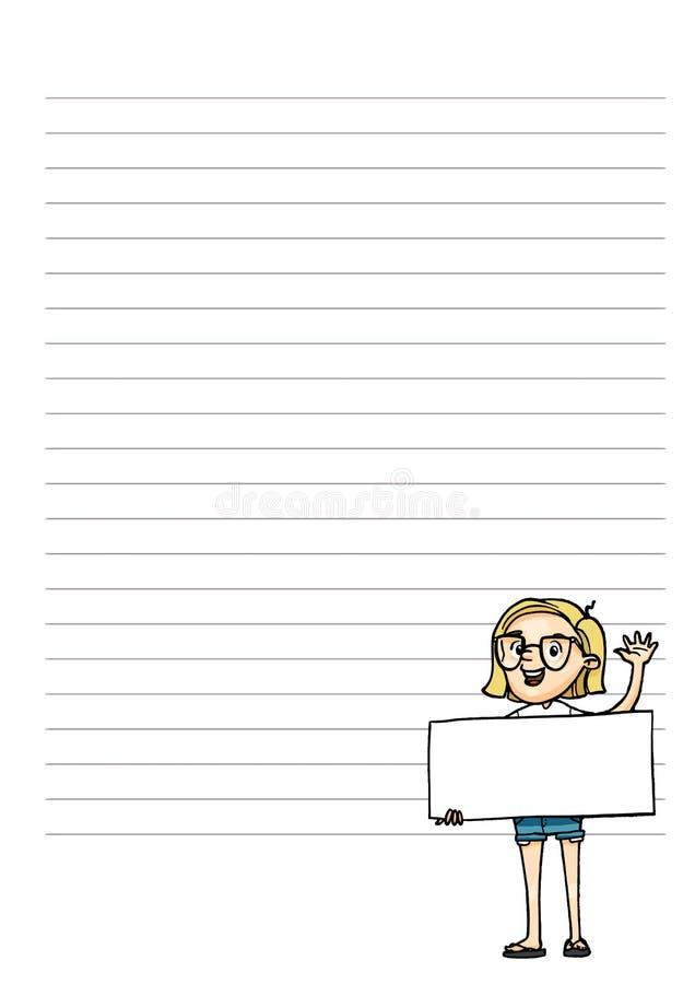 Σελίδα για τις σημειώσεις Αρμόδιος για το σχεδιασμό με το χαριτωμένο χαρακτήρα κινουμένων σχεδίων Διανυσματικό prinble πρότυπο δι απεικόνιση αποθεμάτων