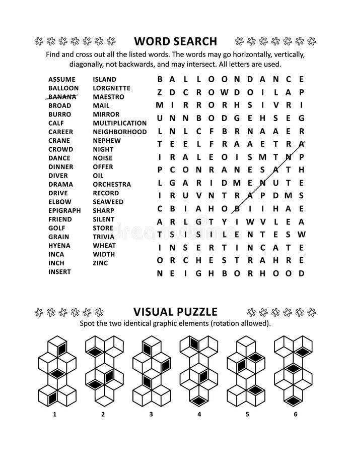Σελίδα γρίφων με δύο παιχνίδια εγκεφάλου διανυσματική απεικόνιση