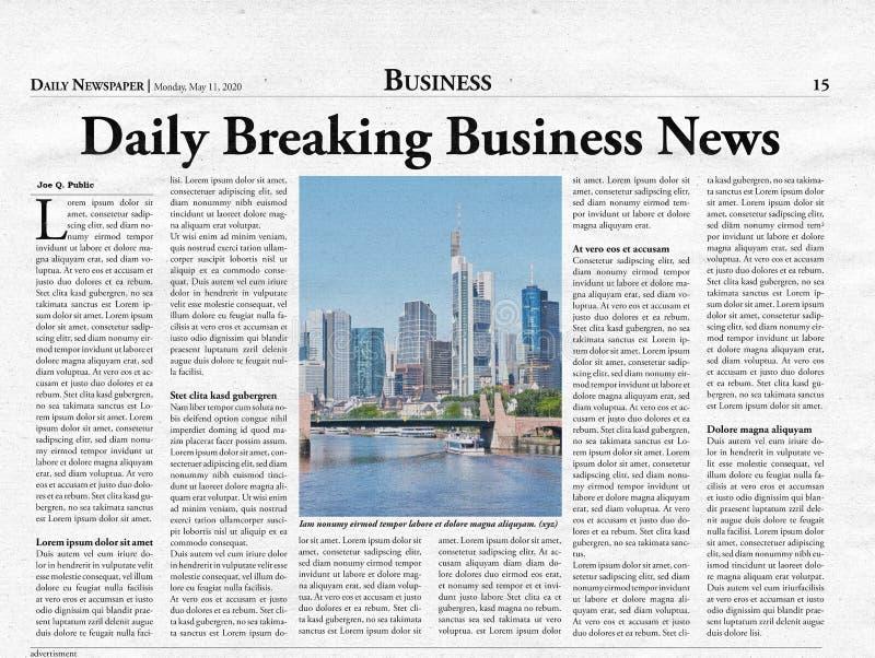 Σελίδα επιχειρησιακού τίτλου μιας πλασματικής εφημερίδας στοκ εικόνες με δικαίωμα ελεύθερης χρήσης