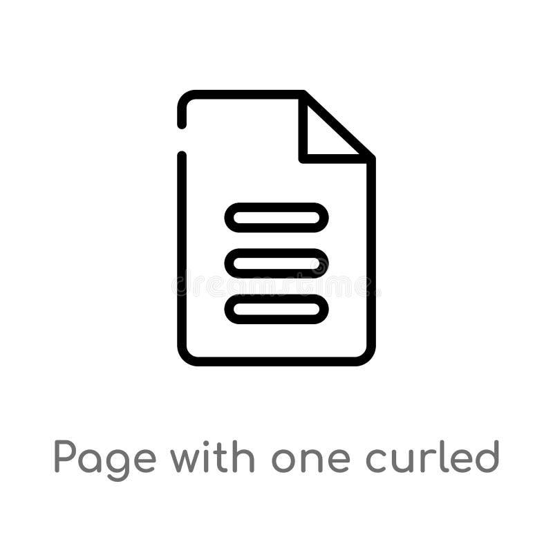 σελίδα περιλήψεων με ένα κατσαρωμένο διανυσματικό εικονίδιο γωνιών απομονωμένη μαύρη απλή απεικόνιση στοιχείων γραμμών από την έν ελεύθερη απεικόνιση δικαιώματος