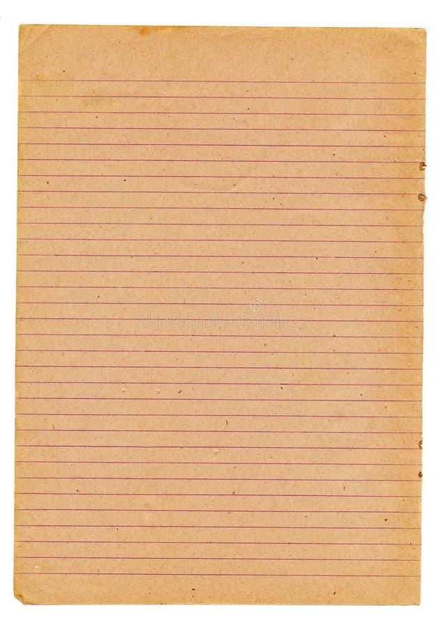 Σελίδα σημειωματάριων παλιού σχολείου που απομονώνεται στο λευκό στοκ εικόνα με δικαίωμα ελεύθερης χρήσης