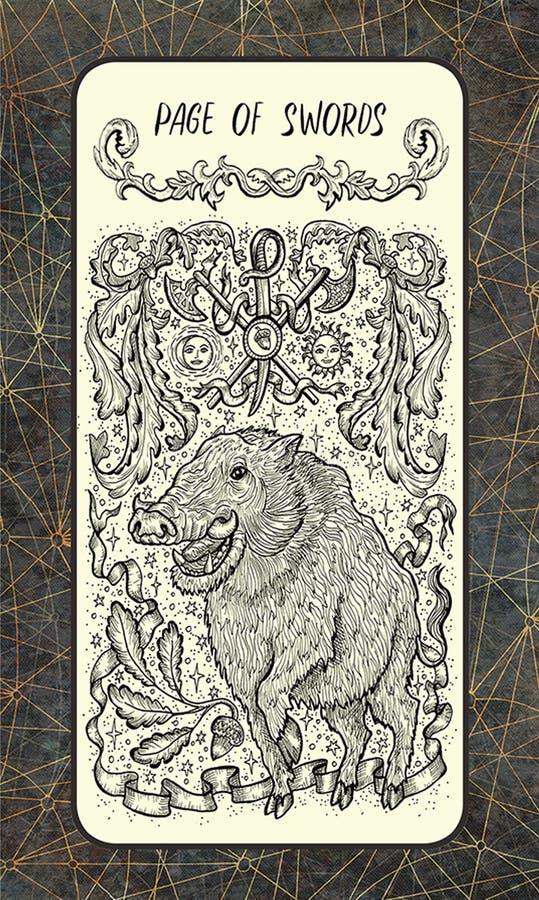 Σελίδα των ξιφών Η μαγική κάρτα πυλών tarot ελεύθερη απεικόνιση δικαιώματος