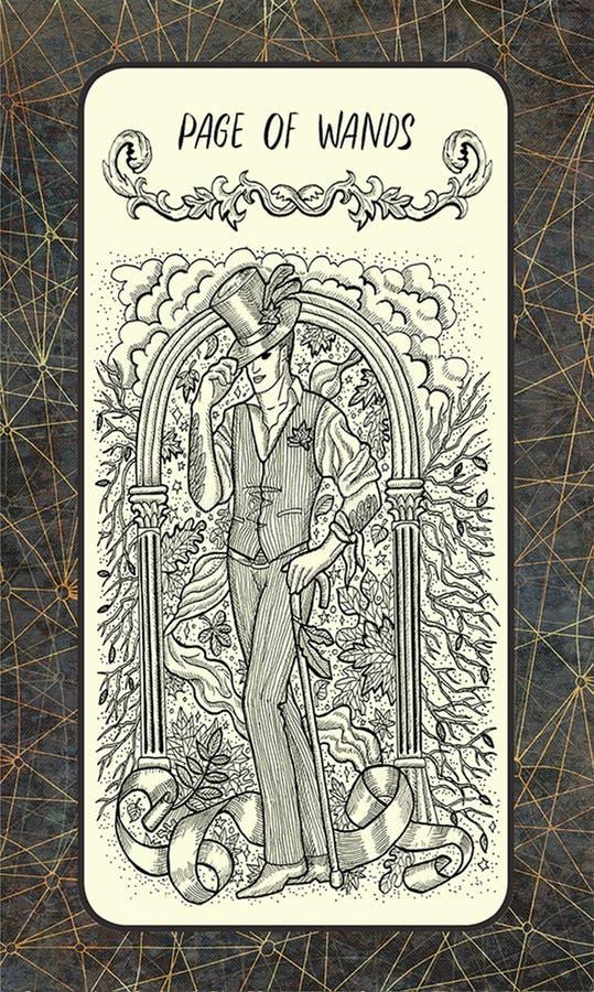 Σελίδα των ράβδων Η μαγική κάρτα πυλών tarot διανυσματική απεικόνιση