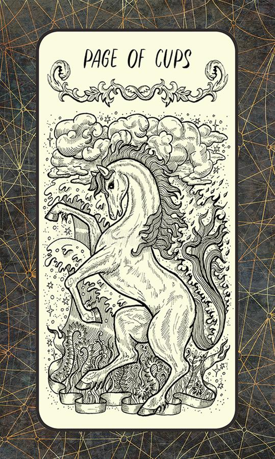 Σελίδα των φλυτζανιών Δευτερεύουσα κάρτα Arcana Tarot διανυσματική απεικόνιση