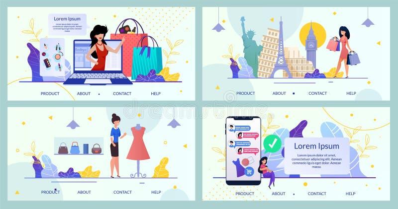 Σελίδα υποδοχής πακέτου Mobile App Online Brand Store απεικόνιση αποθεμάτων