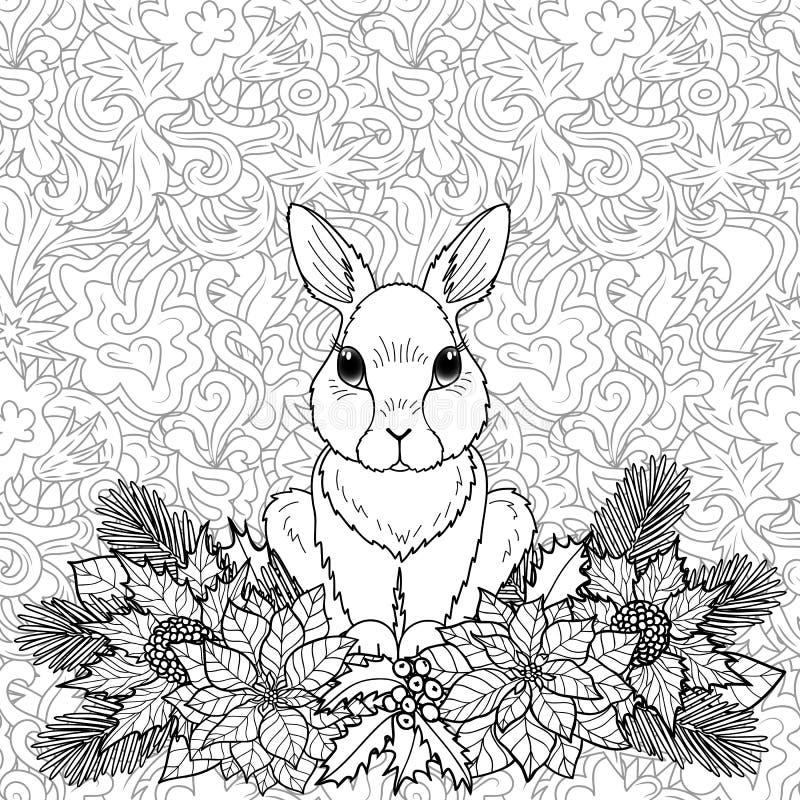 Σελίδα χειμερινού χρωματισμού με το κουνέλι ελεύθερη απεικόνιση δικαιώματος
