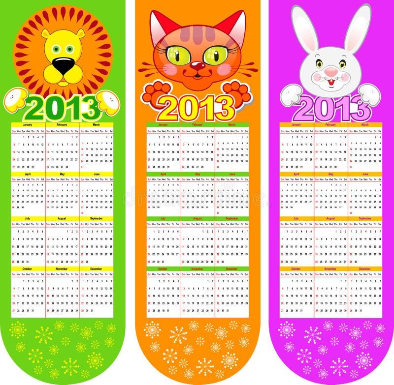 Σελιδοδείκτης-ημερολόγιο σε ένα έτος του 2013 απεικόνιση αποθεμάτων