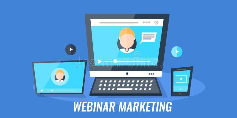 Σεμινάριο Ιστού μάρκετινγκ Webinar - τηλεοπτική σύσκεψη - για τις ψηφιακές συσκευές μέσων Επίπεδο έμβλημα μάρκετινγκ σχεδίου διαν διανυσματική απεικόνιση