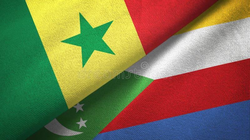 Σενεγάλη και Κομόρες δύο υφαντικό ύφασμα σημαιών, σύσταση υφάσματος απεικόνιση αποθεμάτων