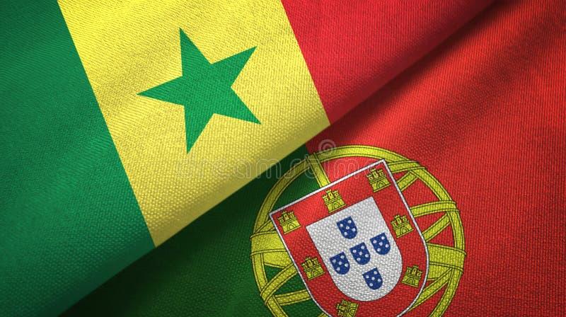 Σενεγάλη και Πορτογαλία δύο υφαντικό ύφασμα σημαιών, σύσταση υφάσματος διανυσματική απεικόνιση