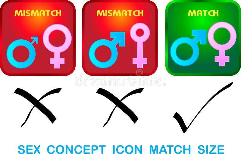 Σεξουαλικό μέγεθος αντιστοιχιών εικονιδίων έννοιας  απεικόνιση αποθεμάτων