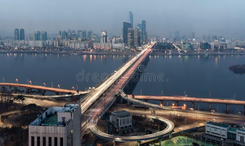 Σεούλ Νότια Κορέα - ελαφριές ραβδώσεις γεφυρών Mapo στοκ φωτογραφίες με δικαίωμα ελεύθερης χρήσης
