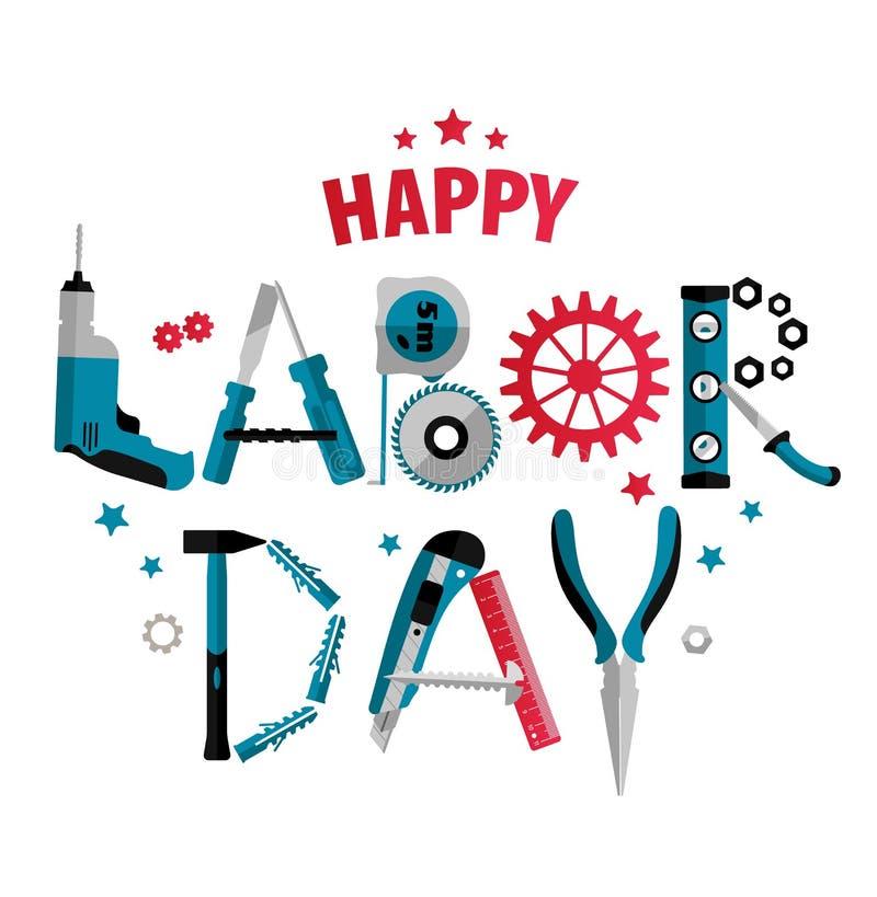 3 Σεπτεμβρίου αφίσα ή έμβλημα Εργατικής Ημέρας επίσης corel σύρετε το διάνυσμα απεικόνισης