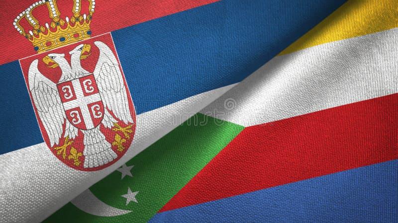 Σερβία και Κομόρες δύο υφαντικό ύφασμα σημαιών, σύσταση υφάσματος απεικόνιση αποθεμάτων