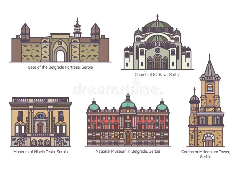 Σερβικά διάσημα ορόσημα αρχιτεκτονικής στη λεπτή γραμμή ελεύθερη απεικόνιση δικαιώματος