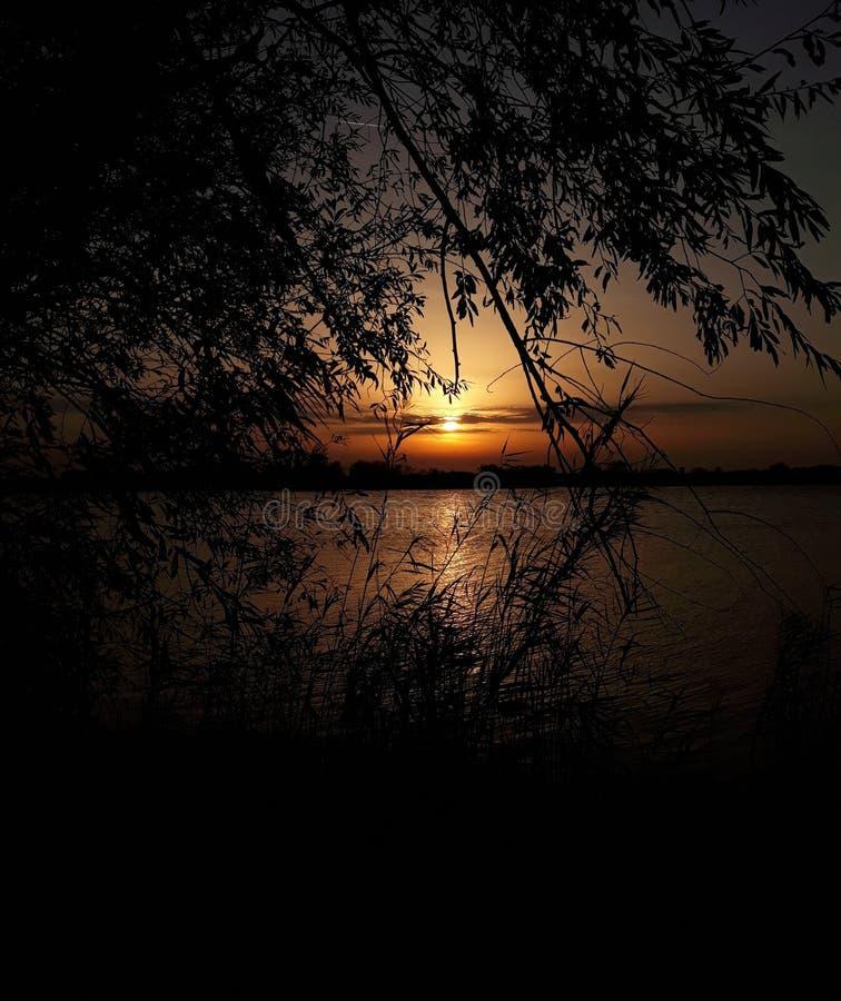 Σερβική λίμνη, beutifull ηλιοβασίλεμα στοκ φωτογραφίες με δικαίωμα ελεύθερης χρήσης