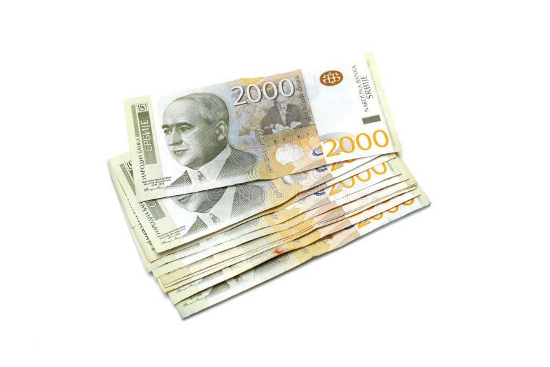 Σερβικό νόμισμα - ένας σωρός 2000 τραπεζογραμματίων Δηναρίων στοκ εικόνες