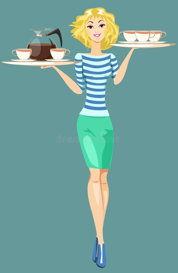 Σερβιτόρα κοριτσιών που φέρνει έναν δίσκο με τα φλιτζάνια του καφέ ελεύθερη απεικόνιση δικαιώματος