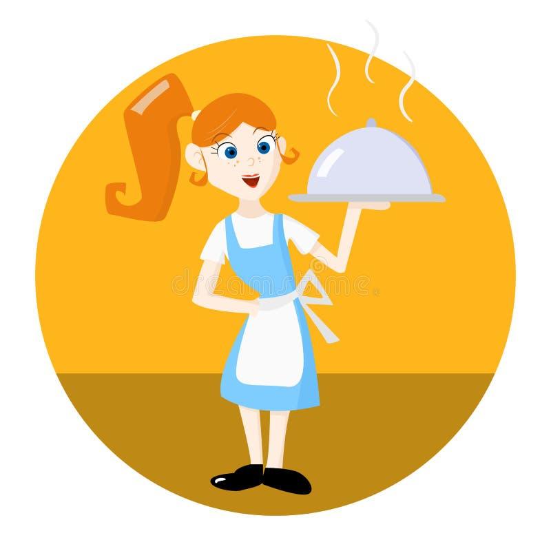 Σερβιτόρα με το εξυπηρετώντας πιάτο δίσκων διανυσματική απεικόνιση