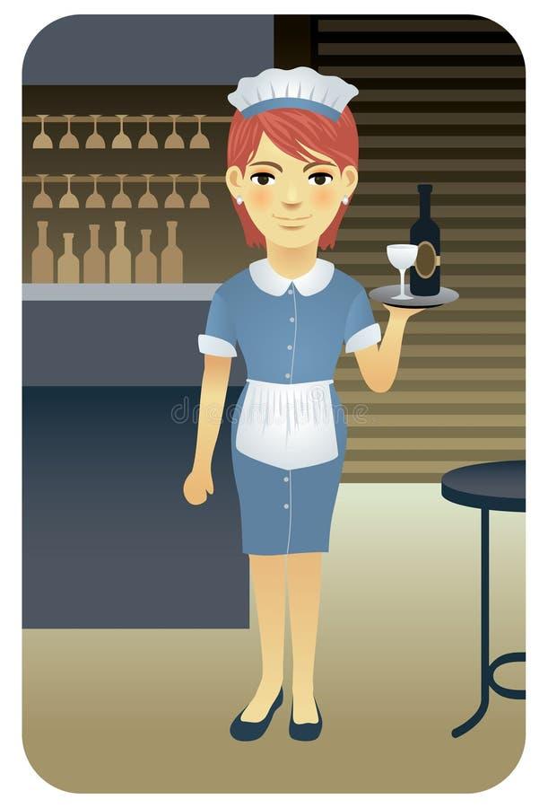 σερβιτόρα σειράς επαγγέ&lambd απεικόνιση αποθεμάτων