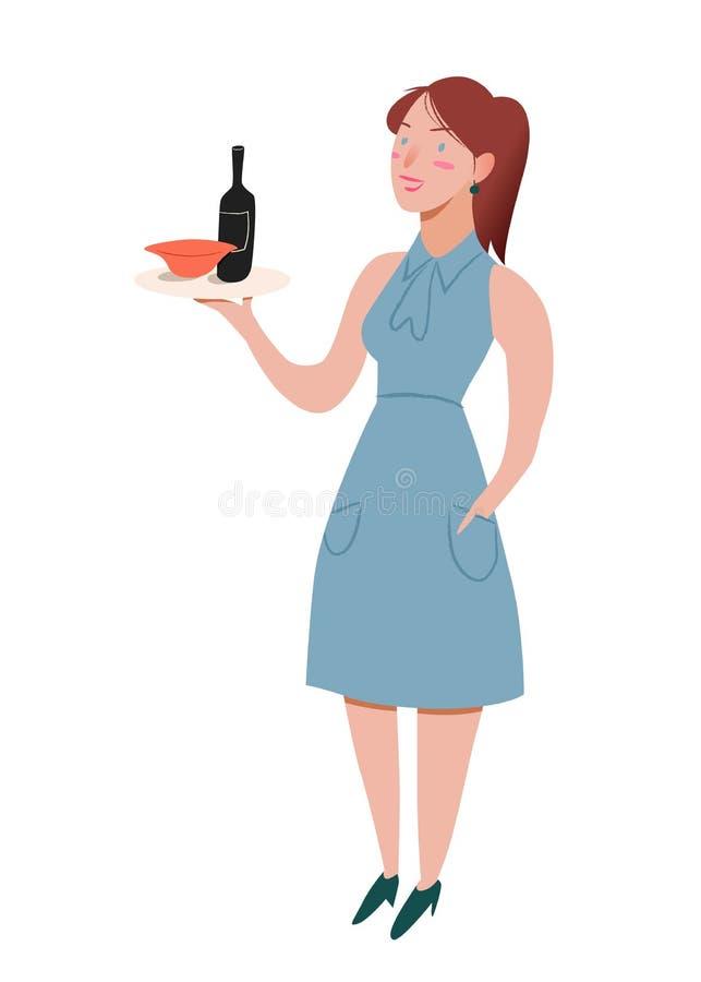 σερβιτόρα Χαμόγελο κοριτσιών της Νίκαιας με το δίσκο διαθέσιμο Θηλυκό που στέκεται σε ένα φόρεμα του μπλε χρώματος Διανυσματική α απεικόνιση αποθεμάτων