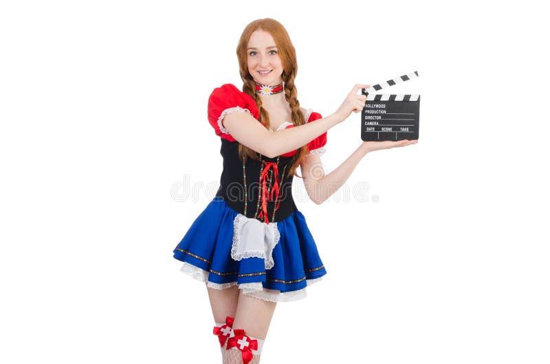 Σερβιτόρος γυναικών με τον πίνακα κινηματογράφων που απομονώνεται στοκ φωτογραφία με δικαίωμα ελεύθερης χρήσης
