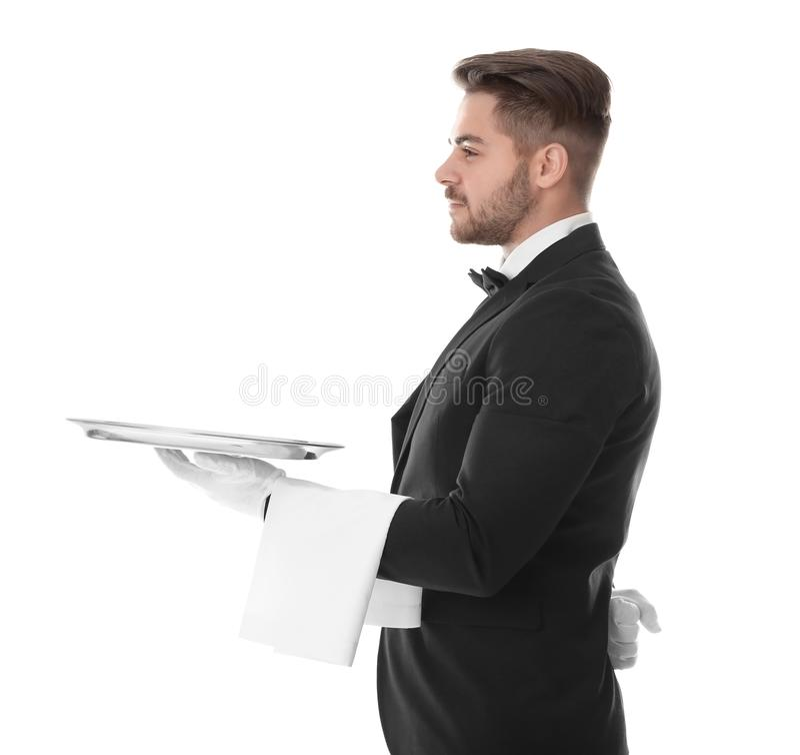 Σερβιτόρος με τον κενό δίσκο στοκ φωτογραφίες
