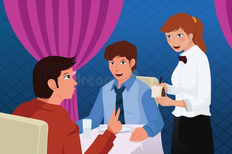 Σερβιτόρος στους εξυπηρετώντας πελάτες εστιατορίων απεικόνιση αποθεμάτων