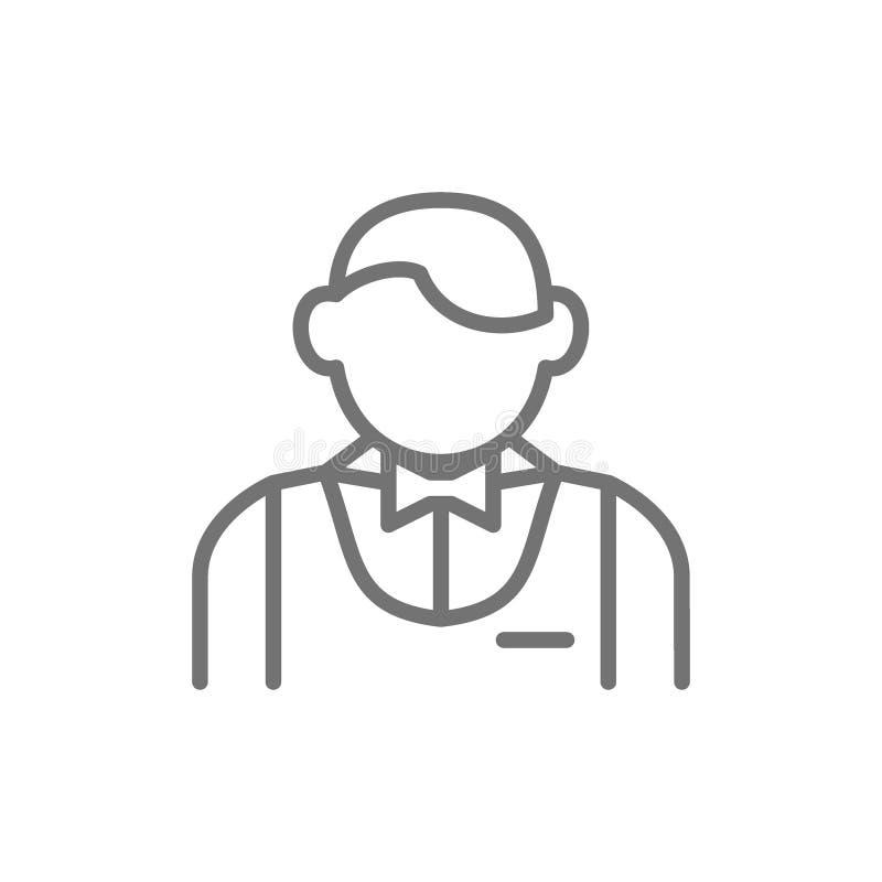Σερβιτόρος, bartender, πιό sommelier εικονίδιο γραμμών ελεύθερη απεικόνιση δικαιώματος