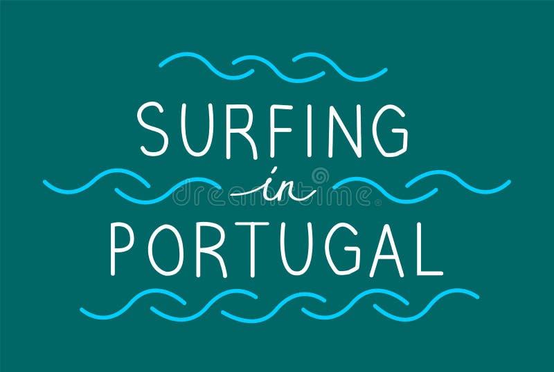 Σερφ στην Πορτογαλία με τα κύματα γραμμών Διανυσματικό illustrati εγγραφής απεικόνιση αποθεμάτων