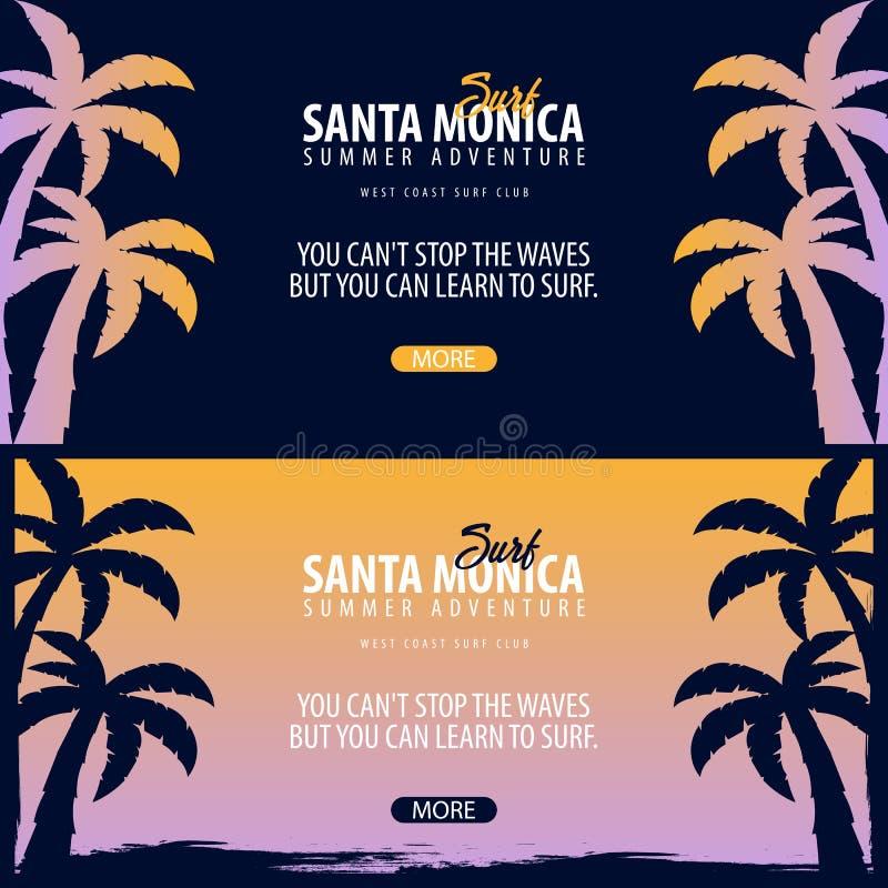Σερφ της Σάντα Μόνικα γραφικό με τους φοίνικες Διανυσματικό έμβλημα λεσχών κυματωγών διανυσματική απεικόνιση