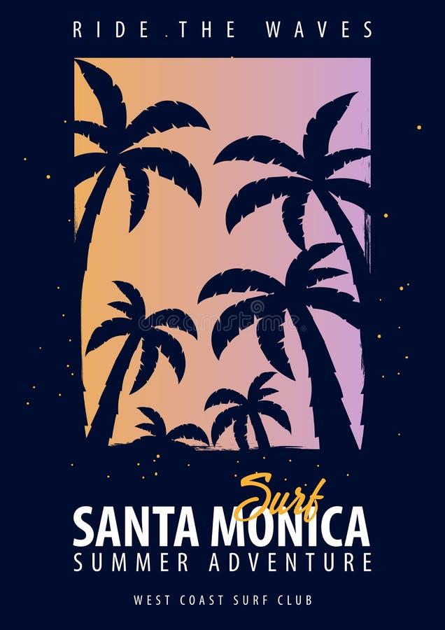 Σερφ της Σάντα Μόνικα γραφικό με τους φοίνικες Σχέδιο και τυπωμένη ύλη μπλουζών διανυσματική απεικόνιση