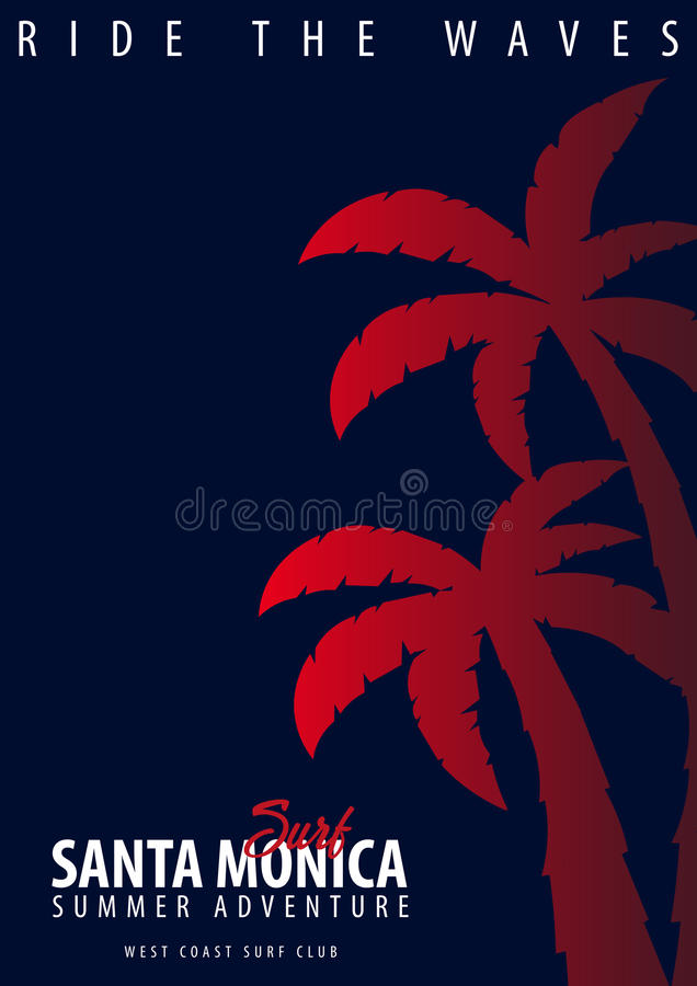Σερφ της Σάντα Μόνικα γραφικό με τους φοίνικες Σχέδιο και τυπωμένη ύλη μπλουζών απεικόνιση αποθεμάτων