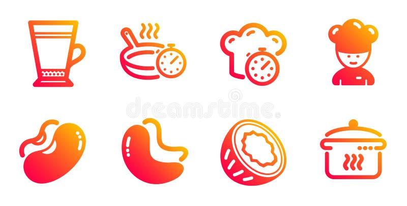 Σετ εικονιδίων λάτε, τηγάνισης και φασολιών Χρονόμετρο μαγειρικής, καρύδι Cashew και πινακίδες καρύδας Διάνυσμα διανυσματική απεικόνιση