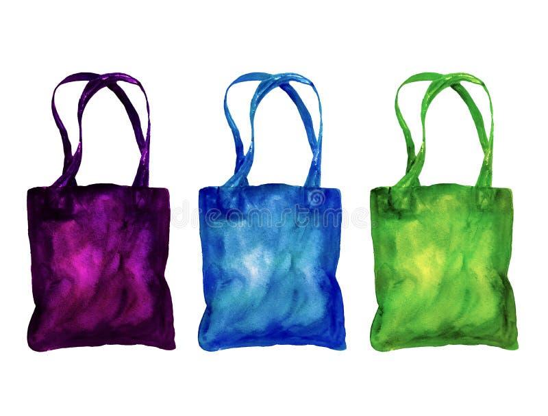 Σετ επαναχρησιμοποιήσιμων σακουλών για ψώνια, χρωματισμένο με το χέρι στοκ εικόνες