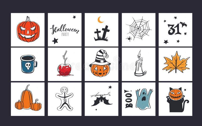 Σετ πανό διανυσμάτων για πάρτι στο Χάλογουιν, κάρτες προσκλήσεων με το χέρι ελεύθερη απεικόνιση δικαιώματος