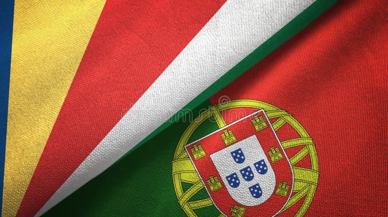 Σεϋχέλλες και Πορτογαλία δύο υφαντικό ύφασμα σημαιών, σύσταση υφάσματος ελεύθερη απεικόνιση δικαιώματος