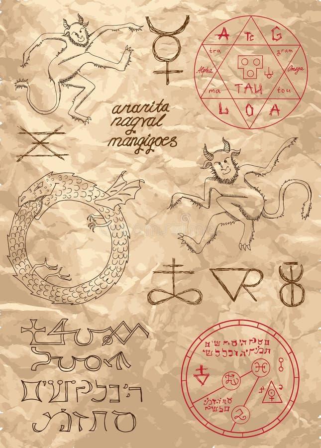 Σελίδα από το μαύρο μαγικό βιβλίο με τους δαίμονες διανυσματική απεικόνιση