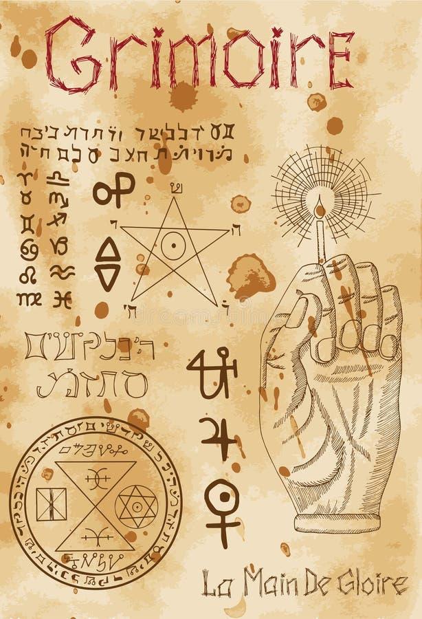 Σελίδα από το μαύρο μαγικό βιβλίο Grimoire απεικόνιση αποθεμάτων