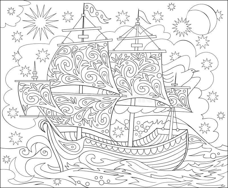 Σελίδα με τη γραπτή απεικόνιση του σκάφους φαντασίας fairyland για το χρωματισμό Φύλλο εργασίας για τα παιδιά και τους ενηλίκους διανυσματική απεικόνιση
