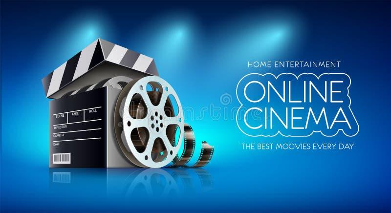 Σε απευθείας σύνδεση έμβλημα κινηματογράφων για τους κινηματογράφους Ιστού επίσης corel σύρετε το διάνυσμα απεικόνισης ελεύθερη απεικόνιση δικαιώματος
