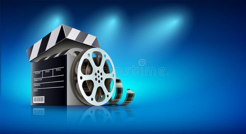 Σε απευθείας σύνδεση έμβλημα κινηματογράφων για τους κινηματογράφους Ιστού επίσης corel σύρετε το διάνυσμα απεικόνισης διανυσματική απεικόνιση