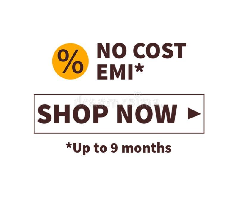 Σε απευθείας σύνδεση έννοια αγορών: Κανένα κόστος EMI του σχεδίου έννοιας με το σχέδιο απεικόνισης, κατάστημα τώρα διανυσματική απεικόνιση