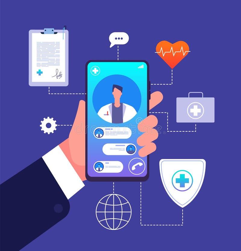 Σε απευθείας σύνδεση έννοια γιατρών Κινητό τηλέφωνο app ιατρικής Advices συμβούλων γιατρών στην οθόνη smartphone Διάνυσμα τηλεϊατ απεικόνιση αποθεμάτων