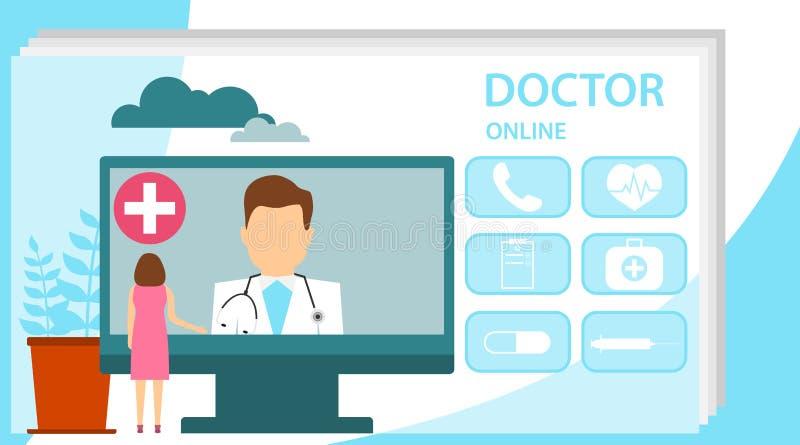 Σε απευθείας σύνδεση έννοια γιατρών με το χαρακτήρα Σε απευθείας σύνδεση γιατρός, υγειονομική υπηρεσία υπολογιστών Διαδικτύου, δι ελεύθερη απεικόνιση δικαιώματος